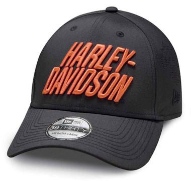 Harley-Davidson Men's Laser Perf 39THIRTY Baseball Cap - Black 97856-19VM - Wisconsin Harley-Davidson