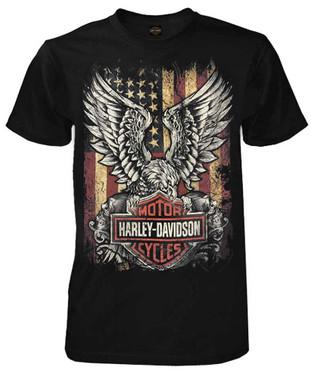 Harley-Davidson Men's Custom Freedom Short Sleeve Crew Neck Tee - Black - Wisconsin Harley-Davidson