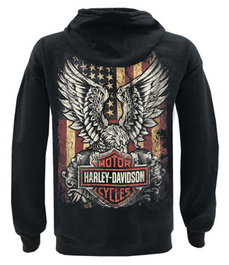 Harley-Davidson Men's Custom Freedom Fleece Full-Zip Hoodie - Solid Black - Wisconsin Harley-Davidson