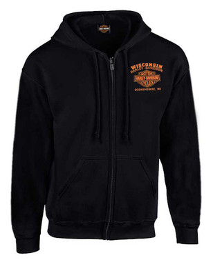 Harley-Davidson Men's Custom Freedom Fleece Full-Zip Hoodie - Solid Black - Wisconsin Harley-Davidson
