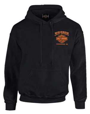 Harley-Davidson Men's Custom Freedom Fleece Pullover Hoodie - Solid Black - Wisconsin Harley-Davidson