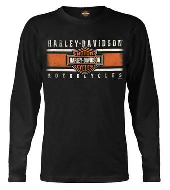 Harley-Davidson Men's Custom Iconic B&S Long Sleeve Crew-Neck Shirt - Black - Wisconsin Harley-Davidson