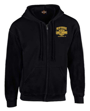 Harley-Davidson Men's Custom V Eagle Fleece Full-Zippered Hoodie - Black - Wisconsin Harley-Davidson