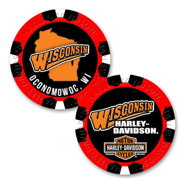 Harley-Davidson Custom Wisconsin Harley Poker Chip - Multiple Colors Available - Wisconsin Harley-Davidson