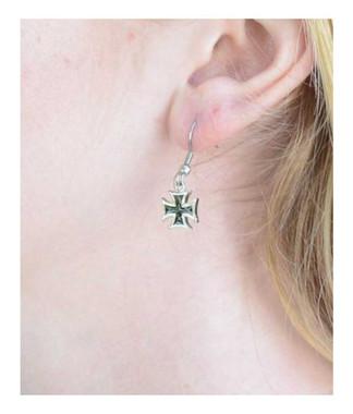 Biker Jewelry Women's Iron Cross French Wire Earrings - Stainless Steel SK1640 - Wisconsin Harley-Davidson