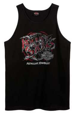 Harley-Davidson Men's Rolling Stones Midnight Rambler Sleeveless Tank Top, Black - Wisconsin Harley-Davidson