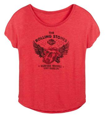 Harley-Davidson Women's Rolling Stones Winged Short Sleeve Curved Hem Tee - Red - Wisconsin Harley-Davidson