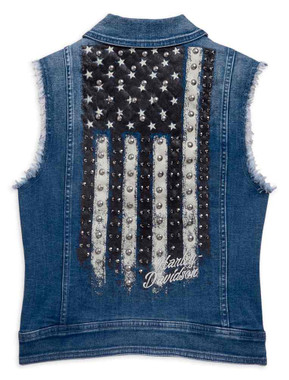 Harley-Davidson Women's Flag Fashion H-D Distressed Denim Vest 96859-19VW - Wisconsin Harley-Davidson