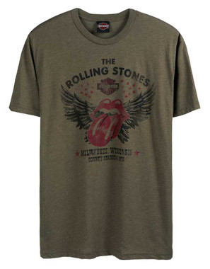 Harley-Davidson Men's Rolling Stones Winged Short Sleeve Crew T-Shirt - Green - Wisconsin Harley-Davidson