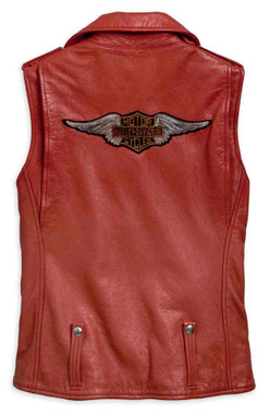 Harley-Davidson Womens Asymmetrical Red Leather Bar & Shield Zip Vest 97049-19VW - Wisconsin Harley-Davidson