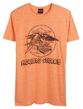 Harley-Davidson Men's Rolling Stones Jet Eagle Short Sleeve Crew Tee - Orange - Wisconsin Harley-Davidson