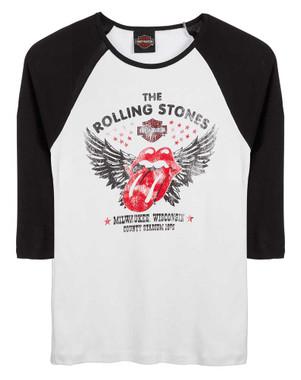 Harley-Davidson Women's Rolling Stones Winged 3/4 Sleeve Raglan Shirt - White - Wisconsin Harley-Davidson