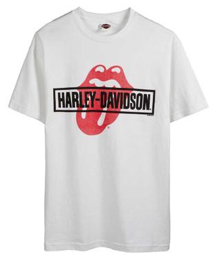 Harley-Davidson Men's Rolling Stones Mash Short Sleeve Crew-Neck T-Shirt - White - Wisconsin Harley-Davidson