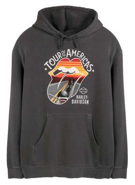 Harley-Davidson Men's Rolling Stones America Tour Pullover Fleece Hoodie - Gray - Wisconsin Harley-Davidson