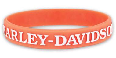 Harley-Davidson Women's V-Twin Power Silicone Wristband, Light Orange WB132538 - Wisconsin Harley-Davidson