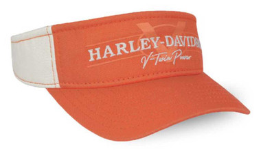 Harley-Davidson Women's V-Twin Power Adjustable Visor, Orange & Tan VIS132579 - Wisconsin Harley-Davidson
