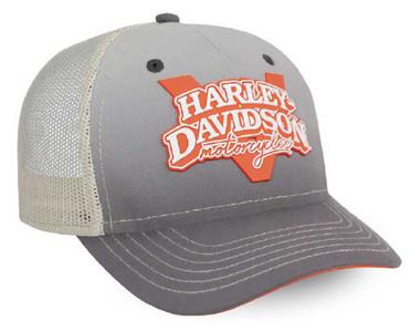 Harley-Davidson Women's V-Twin Power Adjustable Baseball Cap, Gray BC132554 - Wisconsin Harley-Davidson