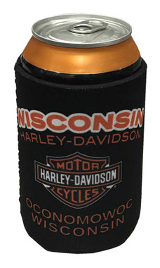 Harley-Davidson Wisconsin H-D Neoprene Can Flat Wrap - Black & Orange CFCUS0304 - Wisconsin Harley-Davidson