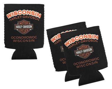 Harley-Davidson Wisconsin H-D Neoprene Can Flat Wrap - 3 Pack, Black CFCUS0304 - Wisconsin Harley-Davidson