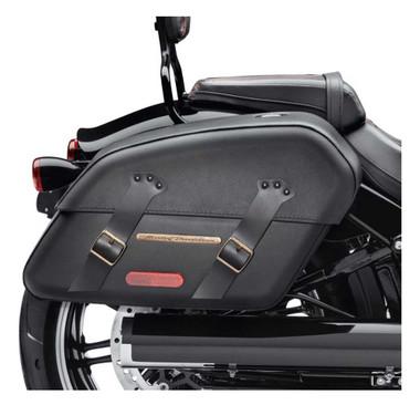 Harley-Davidson Detachables Brass Trim Saddlebags, Fits Fat Boy Models 90201645A - Wisconsin Harley-Davidson