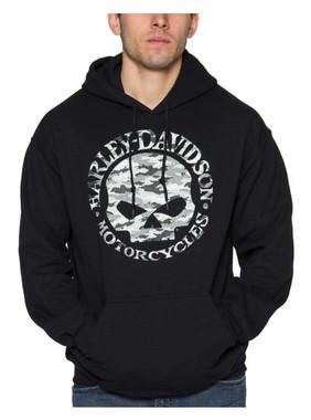Harley-Davidson Men's Camo Willie G Skull Fleece Pullover Hoodie - Solid Black - Wisconsin Harley-Davidson