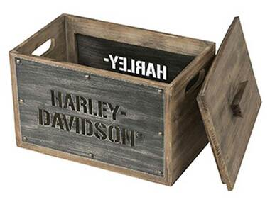 Harley-Davidson Wooden Storage Box w/ Lid - Stainless Steel Laser Cut HDL-18587 - Wisconsin Harley-Davidson
