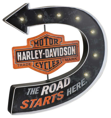 Harley-Davidson Road Starts Here Bar & Shield Marquee Metal Pub Sign HDL-15519 - Wisconsin Harley-Davidson