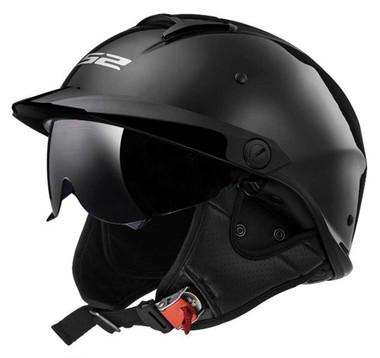 LS2 Helmets Rebellion Sun Shield Motorcycle Half Helmet - Gloss Black 590-100 - Wisconsin Harley-Davidson