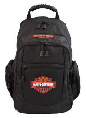 Harley-Davidson Classic Bar & Shield Rubber Patch Backpack, Black BP1932S-ORGBLK - Wisconsin Harley-Davidson