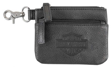 Harley-Davidson Women's Bar & Shield Embossed Leather Coin Pouch BSE6961-BLACK - Wisconsin Harley-Davidson