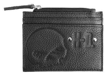 Harley-Davidson Women's Embossed Skull Leather Zip Pocket Wallet SEW9071-BLACK - Wisconsin Harley-Davidson