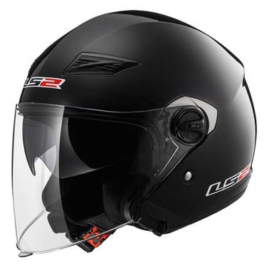 LS2 Helmets Open Face Track Motorcycle Helmet - Solid Gloss Black 569-300 - Wisconsin Harley-Davidson