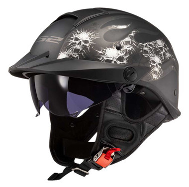 LS2 Helmets Rebellion Sun Shield Motorcycle Half Helmet - Bones Graphic 590-111 - Wisconsin Harley-Davidson