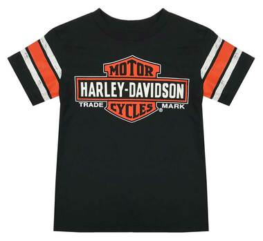 Harley-Davidson Little Boys' Interlock Distressed Short Sleeve T-Shirt, Black - Wisconsin Harley-Davidson