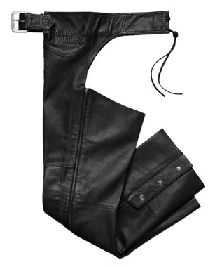 Harley-Davidson Men's Stock II Midweight Leather Chaps - Black 98025-18VM - Wisconsin Harley-Davidson