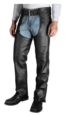 Harley-Davidson Men's Stock II Midweight Leather Chaps - Black 98025-18VM - Wisconsin Harley-Davidson