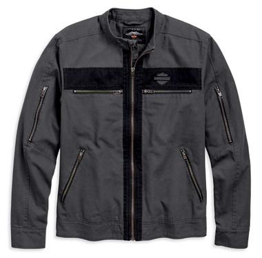 Harley-Davidson Men's Exposed Zippered Canvas Casual Jacket - Asphalt 97519-19VM - Wisconsin Harley-Davidson