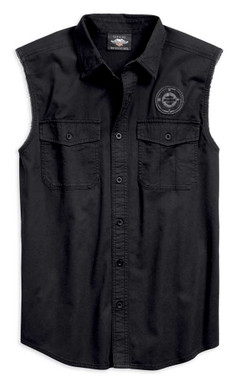 Harley-Davidson Men's Winged Target Blowout Sleeveless Shirt, Black 96769-19VM - Wisconsin Harley-Davidson
