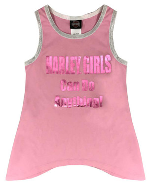 Harley-Davidson Little Girls' Metallic Print Aline Sleeveless Tank - Pink - Wisconsin Harley-Davidson