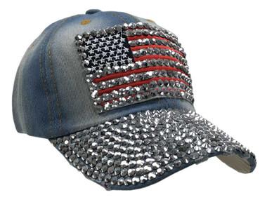 Women's Bling Studded American Flag Denim Baseball Cap, Adjustable 52004 - Wisconsin Harley-Davidson