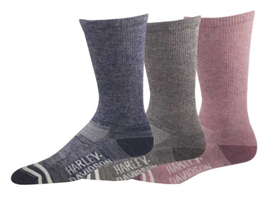 Harley-Davidson Women's Random Feed Crew Riding Socking - 3 Pack, D89233070-990 - Wisconsin Harley-Davidson