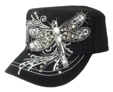 That's A Wrap Women's Crystal Bling Over-Sized Dragonfly Cadet Cap CC1428-BLK - Wisconsin Harley-Davidson