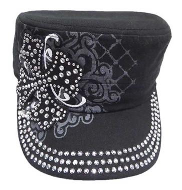 That's A Wrap Women's Crystal Embellished Maltese Cross Cadet Cap CC1328-BLACK - Wisconsin Harley-Davidson