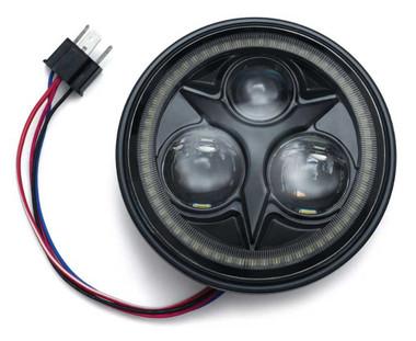 Kuryakyn Orbit Vision 5.75 in. LED White Halo Headlight-Black, Multi-Fit KU-2462 - Wisconsin Harley-Davidson