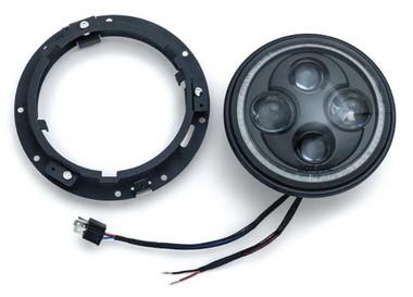 Kuryakyn Orbit Vision 7 in. LED White Halo Headlight - Black, Multi-Fit KU-2460 - Wisconsin Harley-Davidson