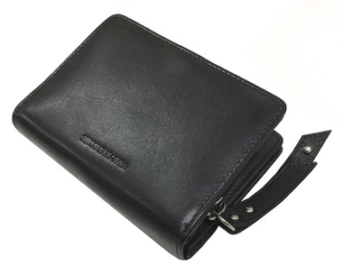 Harley-Davidson Women's Crystal B&S Medallion 4 in. Taxi Leather Wallet - Black - Wisconsin Harley-Davidson