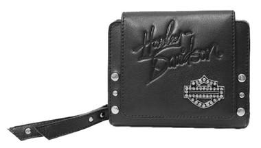 Harley-Davidson Women's Crystal B&S Medallion 4 in. Taxi Leather Wallet - Black - Wisconsin Harley-Davidson