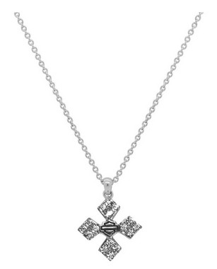Harley-Davidson Women's Bling Pyramid Cross Necklace, Sterling Silver HDN0360-18 - Wisconsin Harley-Davidson