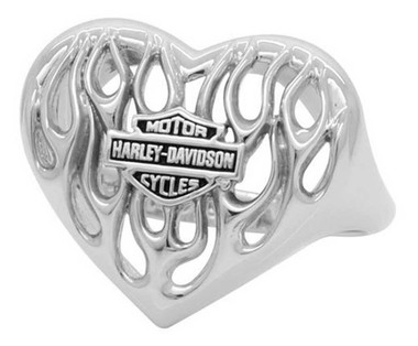 Harley-Davidson Women's Bar & Shield Flame Heart Ring, Sterling Silver HDR0423 - Wisconsin Harley-Davidson