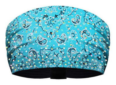 That's A Wrap Women's Blinged Silver Foil Bandana Knotty Band -Turquoise KB1627R - Wisconsin Harley-Davidson